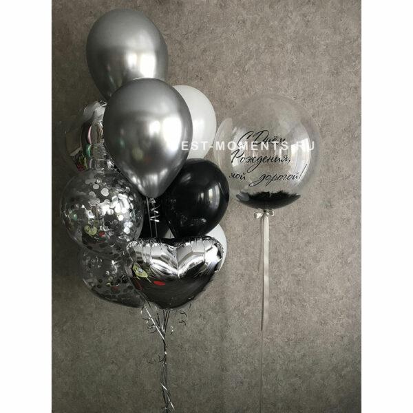 серебряные-шары-с-конфетти-с-днем-рождения